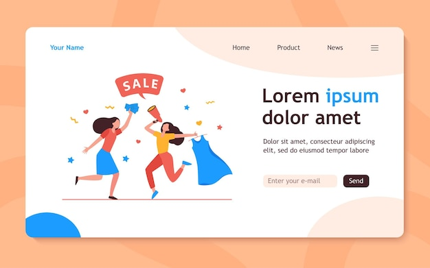 Girls celebrating sale in fashion store. women dancing, announcing sale, buying clothes flat  landing page. shopping, discount, marketing concept for banner, website design or landing web page