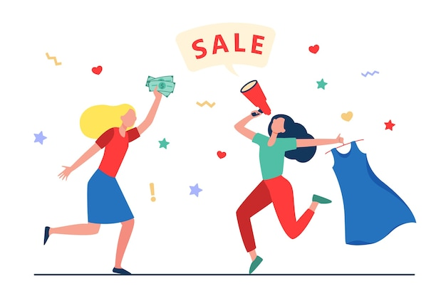 Girls celebrating sale in fashion store. women dancing, announcing sale, buying clothes flat vector illustration. shopping, discount, marketing concept, website design or landing web page