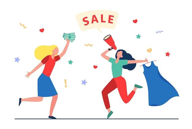 패션 스토어에서 판매를 축하하는 소녀. 여성 춤, 판매 발표, 옷 평면 벡터 일러스트 구매. 쇼핑, 할인, 마케팅 개념, 웹 사이트 디자인 또는 방문 웹 페이지