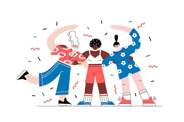Девушки-герои разных национальностей обнимаются вместе. отсутствие концепции расизма в мультяшном стиле, изолированные на белом. жизни темнокожих имеют значение. идея мира и равенства.