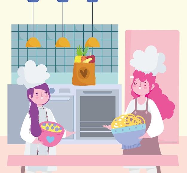 여자 요리사 요리 국수와 디저트