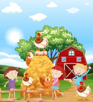 Girls and chickens in the farm