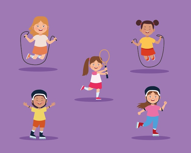 여자 어린이 활동 세트