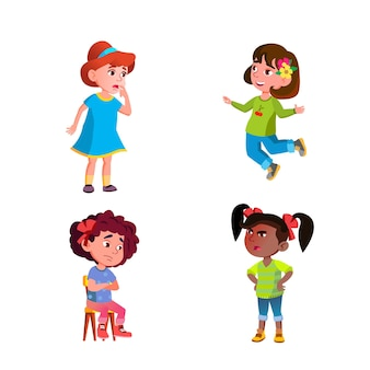 Girls children different emotions mood set vector. happy jumping and angry shouting at friend, thoughtful and sad, surprised and scary kids emotions. characters expression flat cartoon illustrations