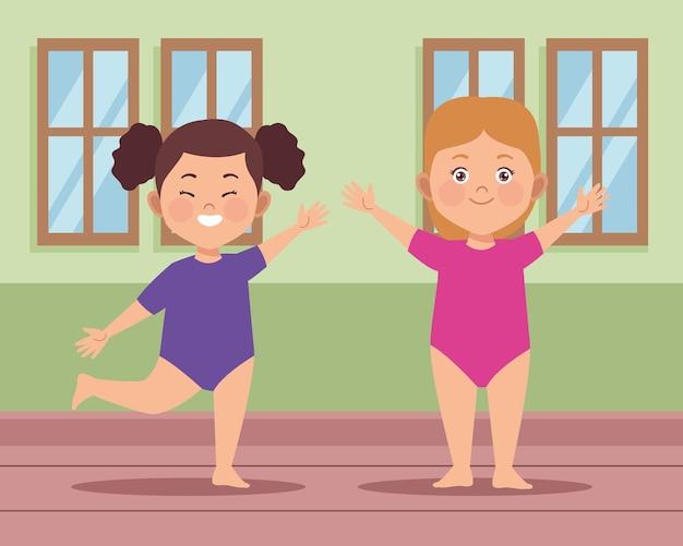 Girls dancing ballet