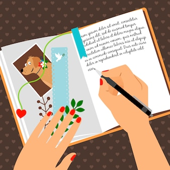 Girls diary with writing secrets