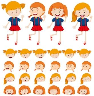 Ragazze e diverse espressioni espressioni facciali