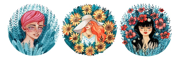 Girls of different nationalities painted with watercolor in a flowers, beauty concept