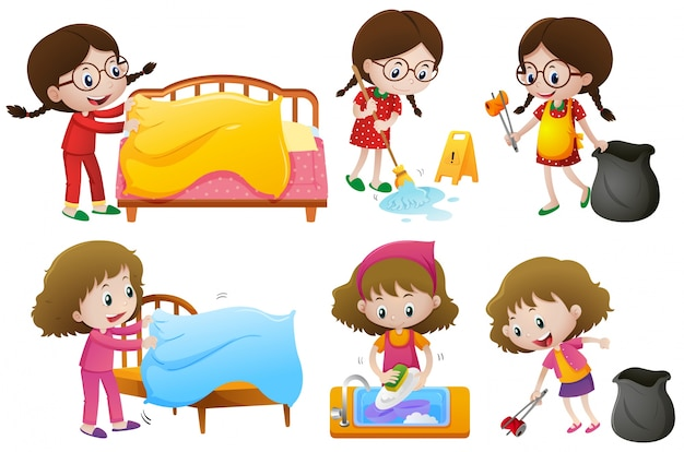Girls doing different chores