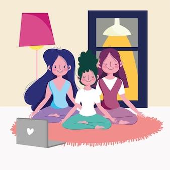 Girls doing yoga at home