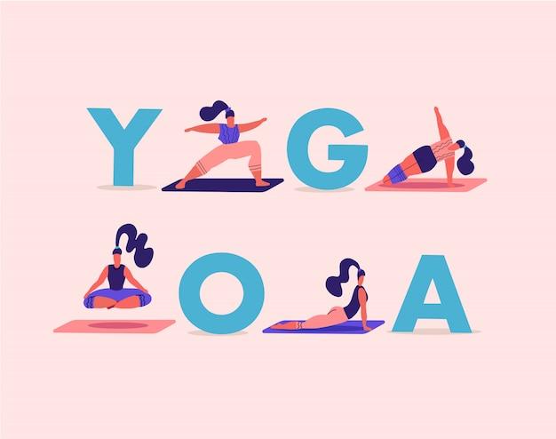 Girls doing yoga poses and asanas. women training among big letters yoga.