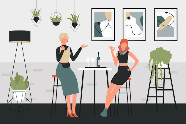 Girls drinking wine vector illustration. cartoon woman characters sitting on high chairs next to table with glasses of wine drink and bottle in comfortable interior of home