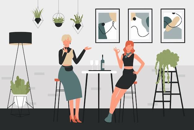 Девочки пьют вино векторные иллюстрации. герои мультфильмов женщина сидят на высоких стульях рядом со столом с бокалами винного напитка и бутылкой в уютном интерьере дома