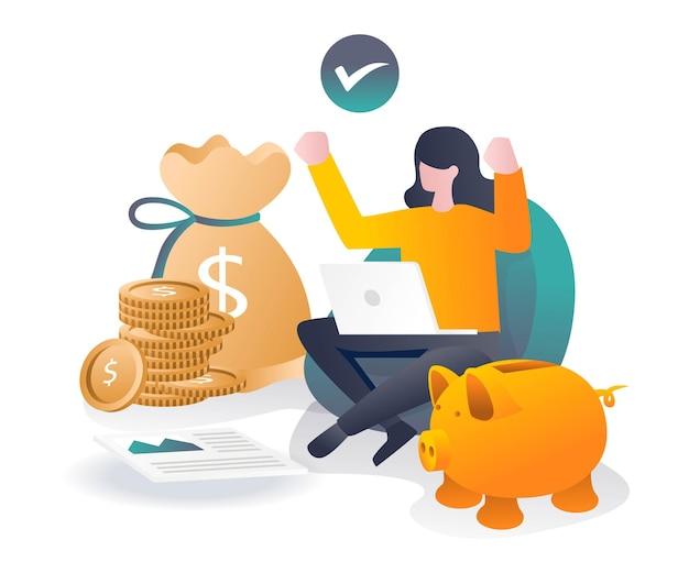 女の子はオンライン投資と成功でお金を稼ぐ