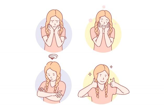 Girls emotional facial expressions set illustration