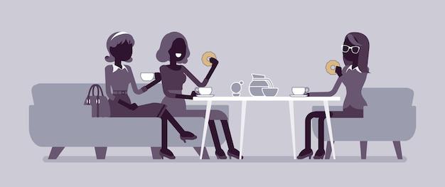 女の子はカフェでフレンドリーなディナーを楽しんでいます。女性の同僚同士の打ち合わせ、レストランでのビジネスランチ、おしゃべりする友達、食事。ベクトルフラットスタイルと線画漫画イラスト、黒いシルエット