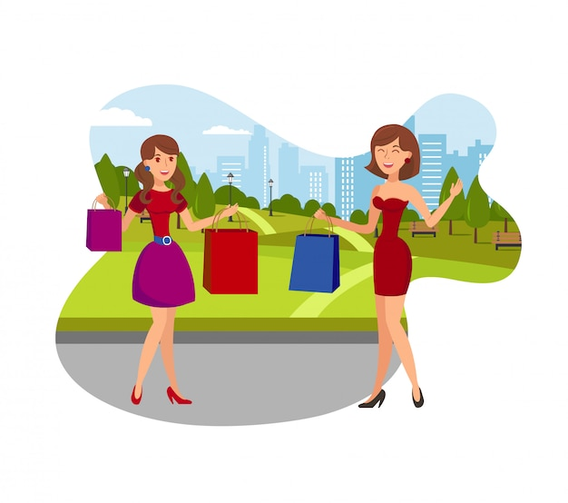 Girls enjoy shopping flat vector illustration