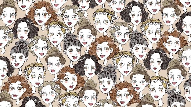 Girls faces doodles background