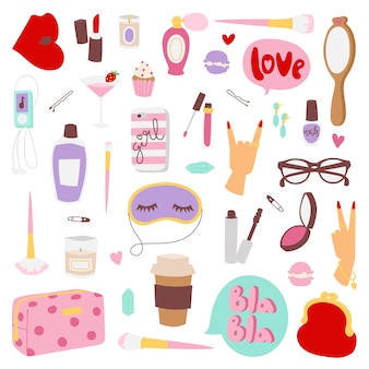 Girls fashion elements.