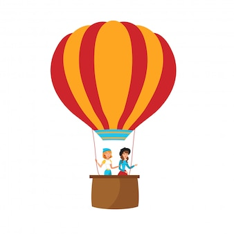 Girls flying on balloon flat vector illustration