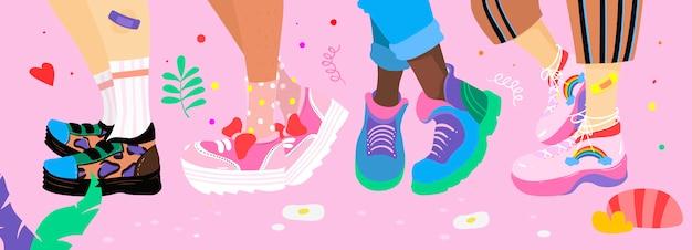 Иллюстрация дружбы девушек, стиль свободной руки.