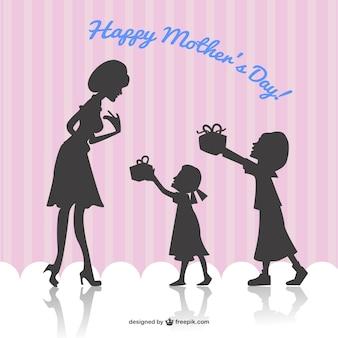 Счастливая мать день карты вектор