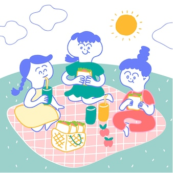 Girls go picnic in the garden, sitting on pink mat. they have sandwiches and bottle of jui