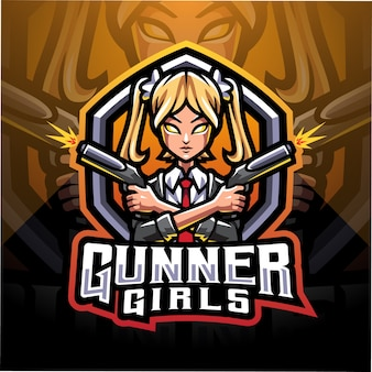 Girls gunner esport mascot logo