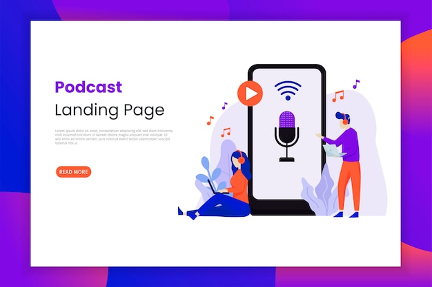 Girls and guys listening to podcasts landing page