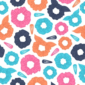 여자 머리 scrunchies 만화 벡터 손으로 그려진된 완벽 한 패턴