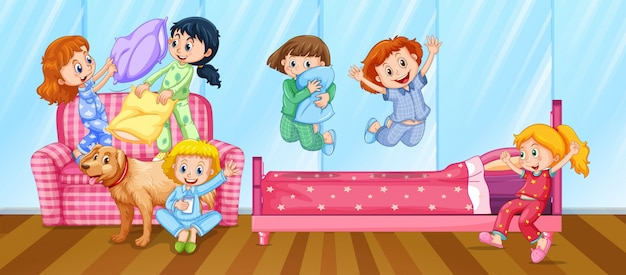 Девушки, сидящие в спальне