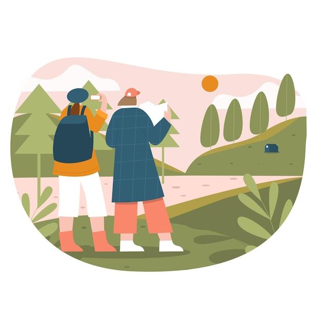 平らなイラストをハイキングする女の子