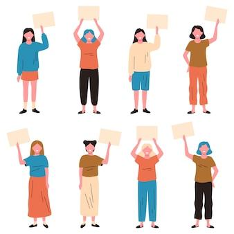 バナーを保持している女の子。空のプラカード、女性キャラクターのデモンストレーションまたは平和的な抗議ベクトルイラストセットを持つ若い女性