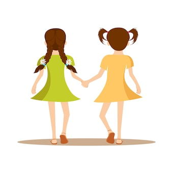 Girls holding hands back view happy friendship day