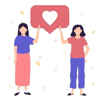 Girls holding like notifications female digital social media success addiction