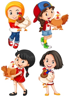 Girls hugging cute chicken