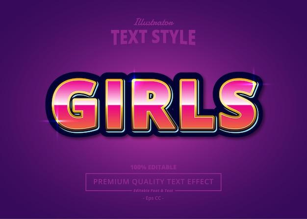 Текстовый эффект girls illustrator