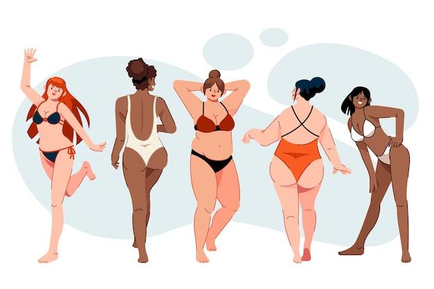 Девушки в бикини устанавливают иллюстрацию