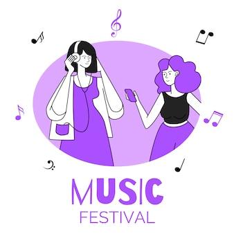 원형 테두리 그림에서 여자입니다. 음악 축제, 파티, 디스코텍, 이벤트. 헤드폰 젊은 여성, 사람들은 흰색에 고립 된 음악 평면 윤곽 문자를 듣고