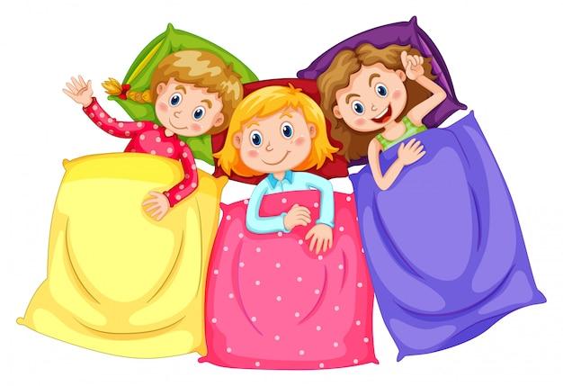 眠りのパーティーでパジャマの女の子
