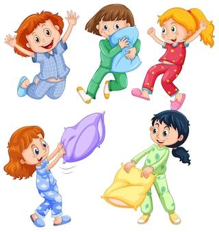 眠りのパーティーでパジャマを着た女の子