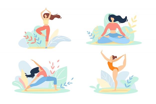 Девушки в спортивной одежде занимаются фитнесом или йогой, изолированные на белом