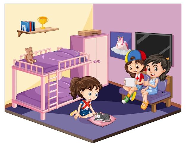 흰색 바탕에 분홍색 테마 장면에서 침실에있는 여자