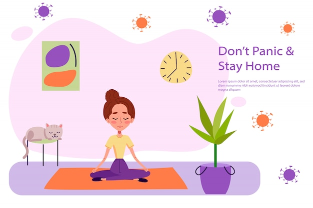 Girls is keeping calm and doing yoga near cat and plant on yoga carpet. woman is staying at home on quarantine illustration