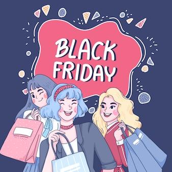 女の子は一緒に買い物をしている漫画のキャラクターのイラスト