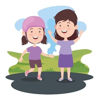 Девочки дети на пейзаже