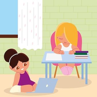 집에서 공부하는 노트북과 여자 아이