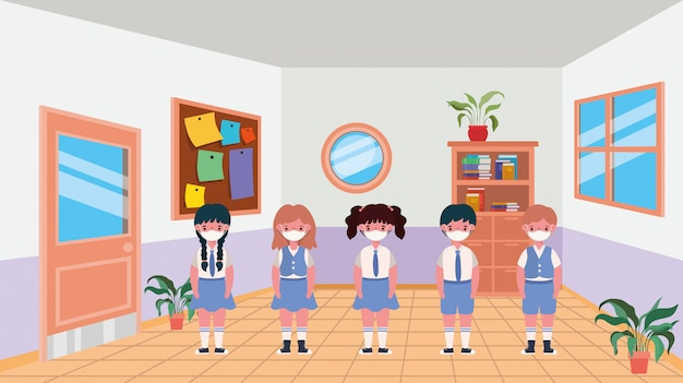 Girls kids with masks in classroom