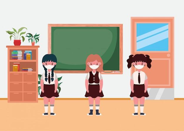 교실에서 마스크와 여자 아이