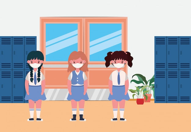 Girls kids with masks in lockers hall